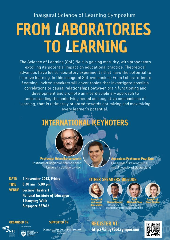 Inaugural Science of Learning Symposium - FROM LABORATORIES TO LEARNING